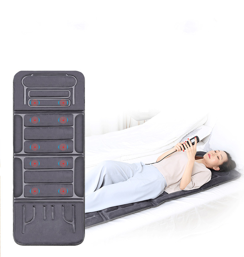 Electric Vibrator Heating Back Neck Massager Mattress Waist Cushion Mat Home Office Relax Bed Pain Relief Health Care image