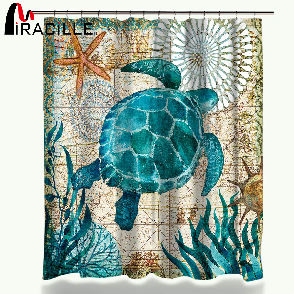 Miracille Turtle Shower Curtain Waterproof Bath Curtains with 12 Hooks Polyester Fabric Curtain For Bathroom Marine Style