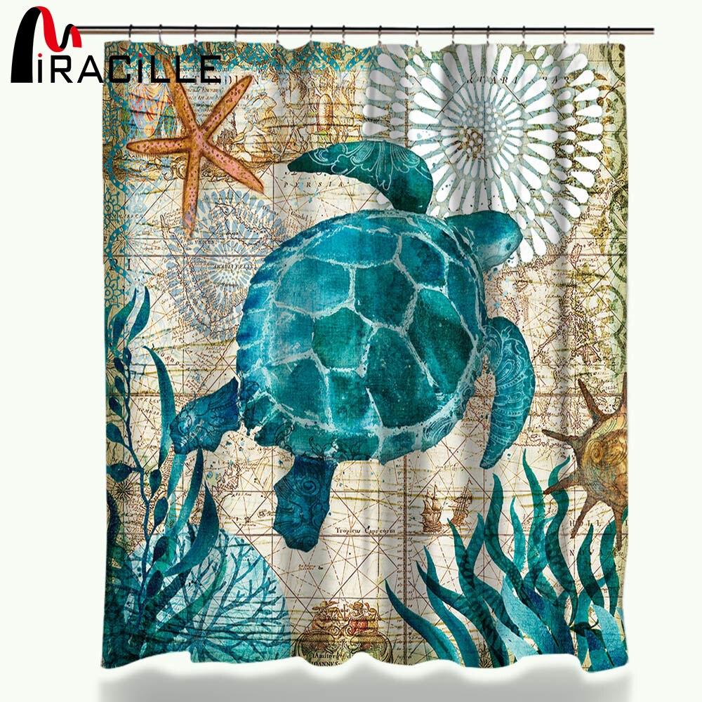 Miracille tortuga de mar Cortina de ducha impermeable pulpo inicio cortinas de baño con 12 ganchos tela de poliéster cortina de baño
