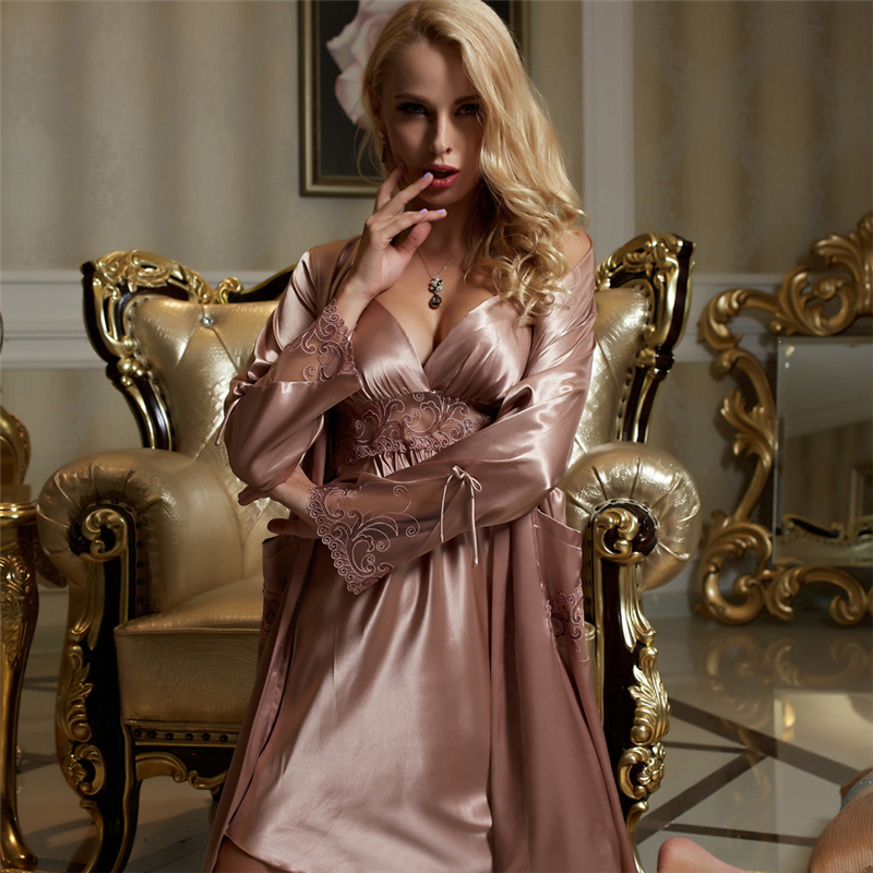 Image 2 - Xifenni Silk Robe Sets Female Silky Faux Silk Sleepwear Woman Sexy Lace Embroidery Bathrobes Nightdress Two Piece Sets X8207-in Robe & Gown Sets from Underwear & Sleepwears