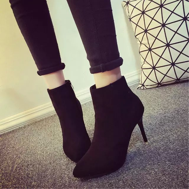 Short Cylinder High Heels Ankle Boots,Black Orange Gray 3 ...