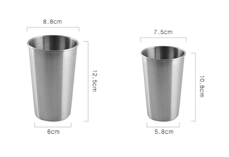 Stainless Steel Pint Cups LargeSmall Durable Kids Cup Metal Tumblers Juice Cocktail Iced Tea Cup Home Bar Camping Drinking Mugs (9)