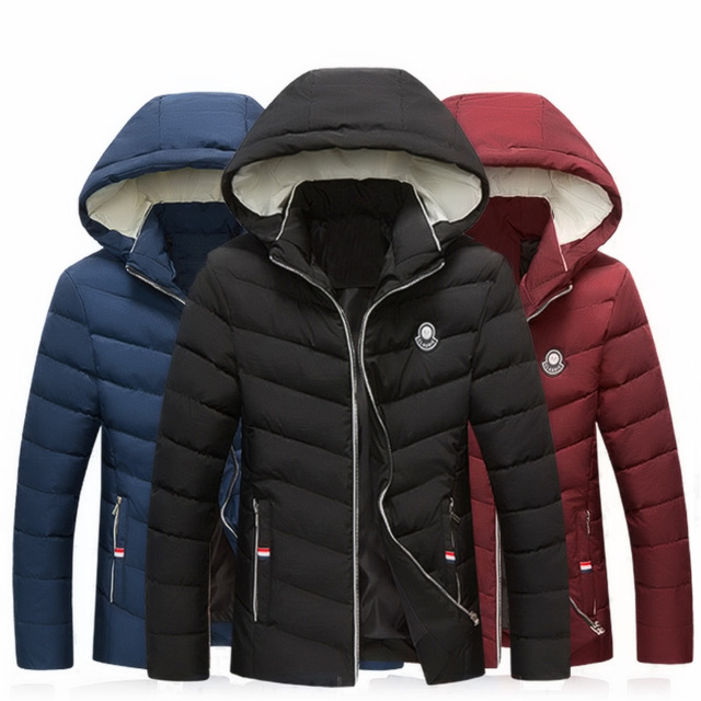 Contrast Color Hooded Design Men Parka Size M-3XL Casual & Fit Men's Winter Jacket Stand Collar Thick Man Down Jacket