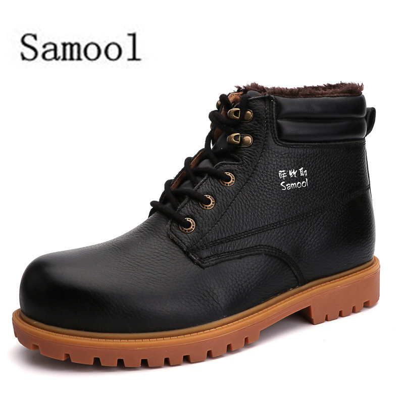 2017 Winter Fashion Working Type Genuine Leather Flats Casual Shoes Winter Leisure Lace Up Comfy Cashmere Men Short Upper Boots men leather shoes 2016 new men s fashion genuine leather lace up casual shoes black brown khaki leisure flats