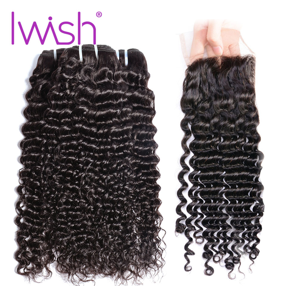 Iwish Curly Hair Weave Human Hair 3 Bundles With Closure Non-remy Indian Hair Weaving Bundles Machine Double Weft Nature Color