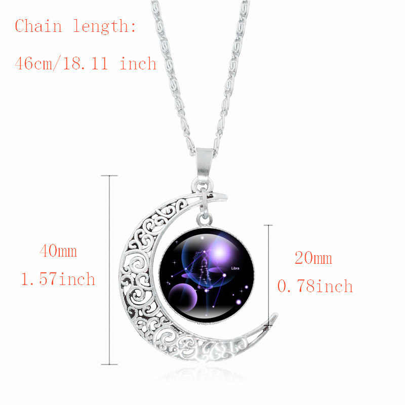 XUSHUI XJ 12 Constellation สร้อยคอจี้ Silver Crescent Moon เครื่องประดับสร้อยคอผู้หญิงของขวัญครอบครัว