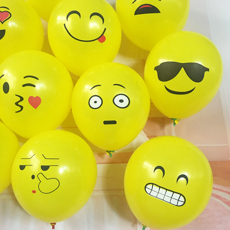 12inch Latex Balloons Printed Expression Yellow Ball Baloon for Children Cute Emoji Party Balloon Gifts Decoration 100pcs