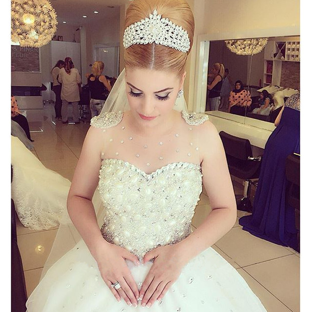 Online Shop New Design Luxury Wedding Dress Crystal Top Quality Beaded Bling Sheer Neck Sweetheart Sexy Princess Bridal 2016