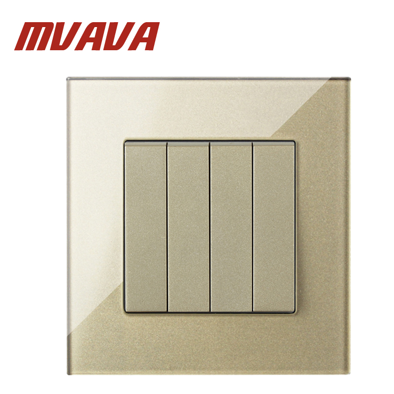 MVAVA Champagne Crystal Panel 4 Gangs 1 Way Waterproof Push Button Switch Luxury Key Electrical Light Wall Switch Free Shipping кукла на руку beleduc овечка