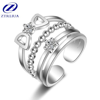 New Temperament Sweet Butterfly Bow 925 Sterling Silver Jewelry Personality Female Crystal Double Exquisite Opening Rings  SR321