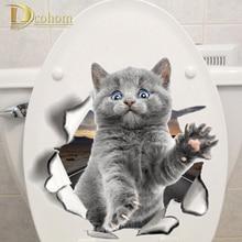Различные милый котенок Животное мультфильм кошка стикер на стену 3D яркий ребенок детская комната ванная комната декорации пилинг и палка Туалет стикер