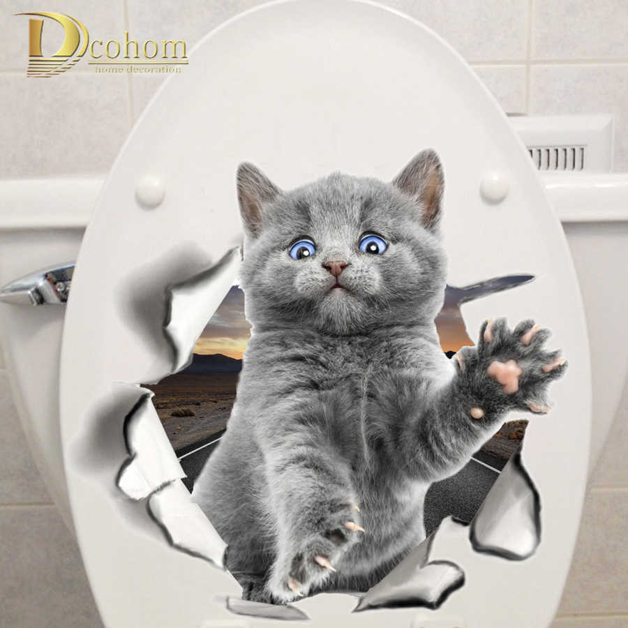 Various Cute Kitten Animal Cartoon Cat Wall Sticker 3D Vivid Baby Kid Room Bathroom Decors Peel & Stick Toilet Sticker