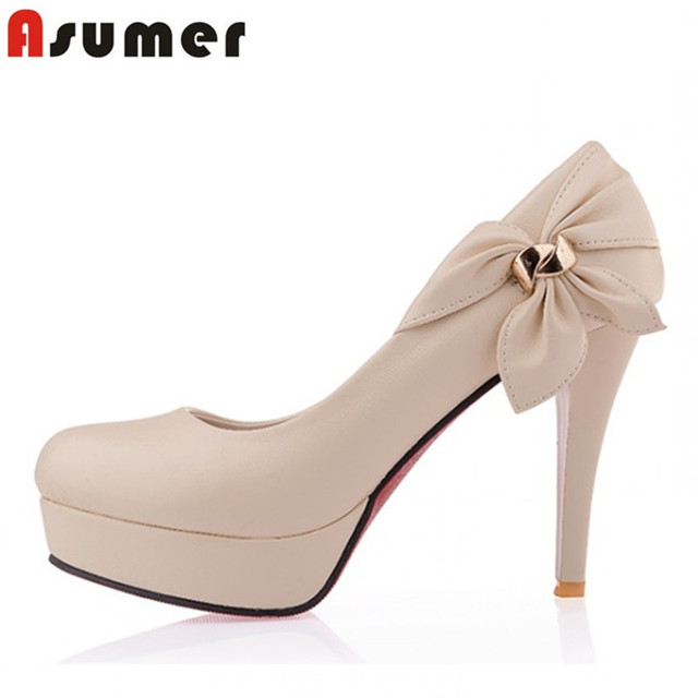 Large size34-43 2015 New high heels  shoes fashion women pumps platform round toe lady prom wedding shoes woman
