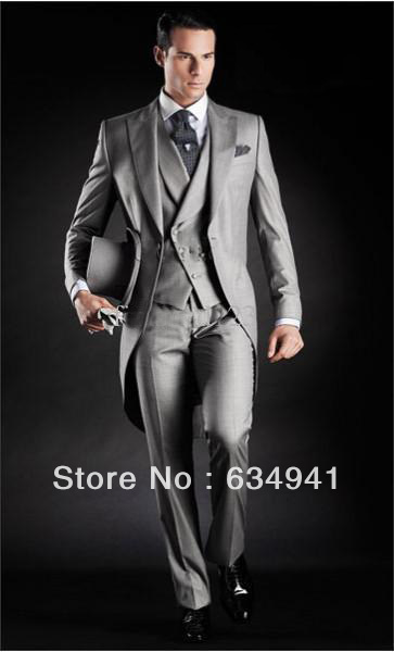 Aliexpress.com : Buy custom made bright silk grey Groom suit ...