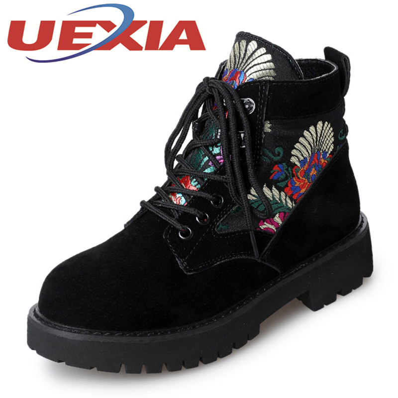 Winter Women Martin Boots Casual High Top Warm Shoes Girls Outdoor Ankle Platform Boots Suede Leather Slip On Women Botas Mujer yin qi shi man winter outdoor shoes hiking camping trip high top hiking boots cow leather durable female plush warm outdoor boot