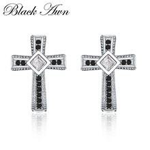[BLACK AWN] 100% Genuine 925 Sterling Silver Trendy Jewelry Black&White Stone Cute Engagement Stud Earrings for Women T106
