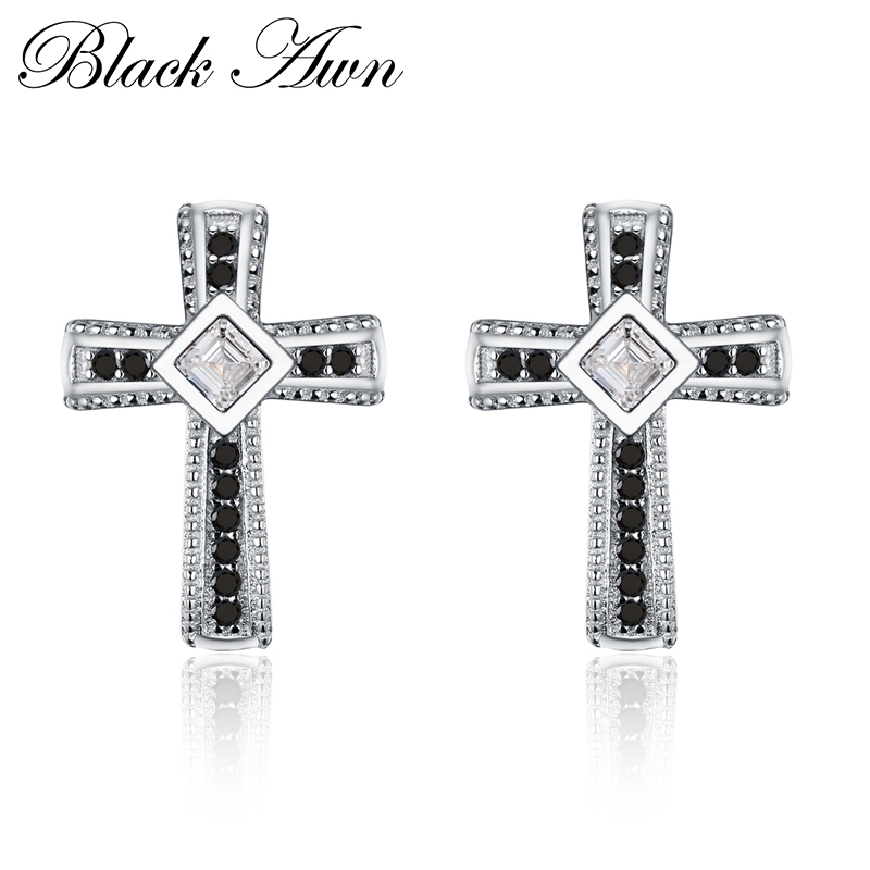 100% Genuine 925 Sterling Silver Trendy Jewelry Black&White Stone Cute Engagement Stud Earrings for Women T106