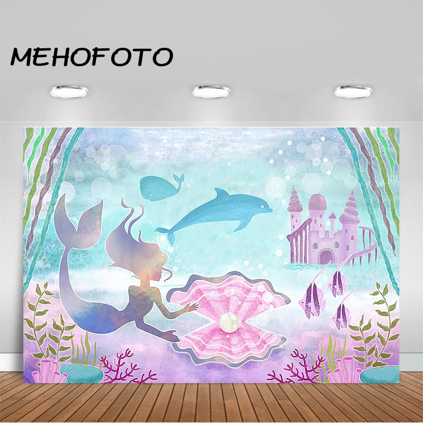 Little Mermaid Photography Background Under Sea Ocean Mermaid Baby Shower Birthday Party Photo Studio Booth Backdrop