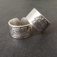 Wedding Couple Rings Women Men Antique 004 Ring Carving Flower Adjustable Lovers Handmade Sterling Silver Jewelry Desert Rose