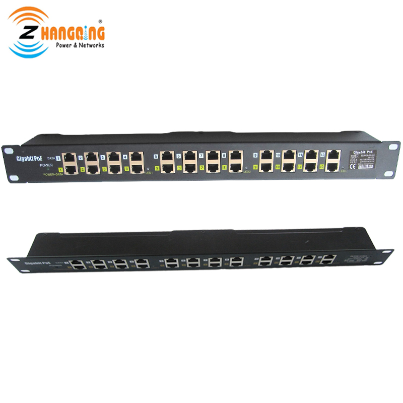 ZQPOEG12 Security Gigabit POE Injector 12 Port 1U Multiport Rack Mount POE Patch Panel 100/1000Mbps CCTV AccessoriesZQPOEG12 Security Gigabit POE Injector 12 Port 1U Multiport Rack Mount POE Patch Panel 100/1000Mbps CCTV Accessories