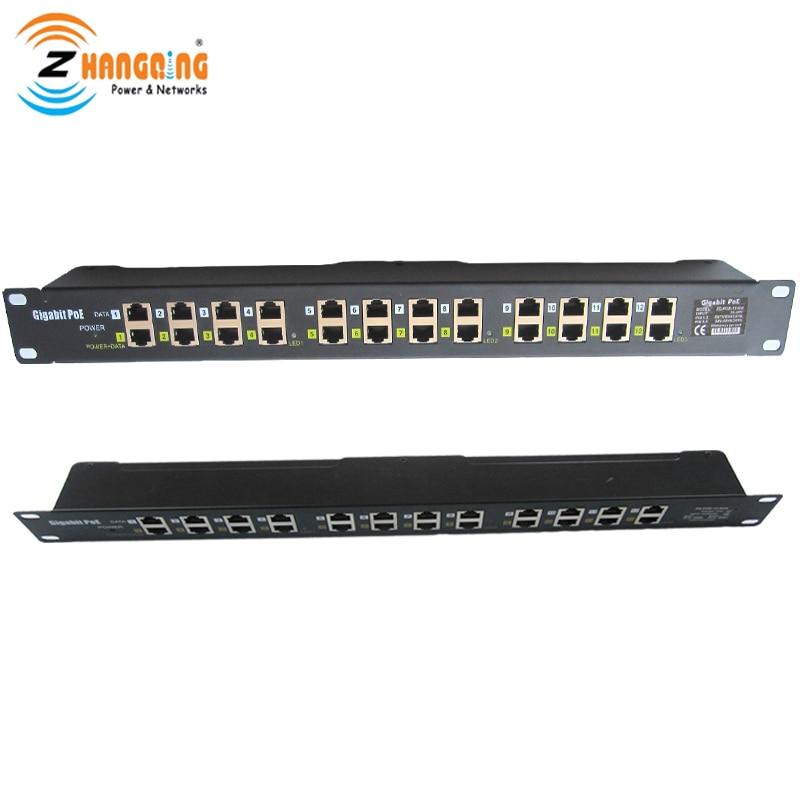 ZQPOEG12 Security Gigabit POE Injector 12 Port 1U Multiport Rack Mount POE Patch Panel 100/1000Mbps CCTV Accessories