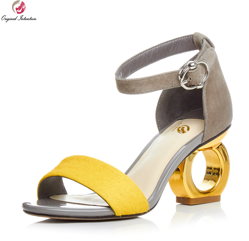 Original Intention Popular Women Sandals Strange Heels Sandals High-quality Yellow Leopard Shoes Woman US Size 4-8.5 original intention high quality women