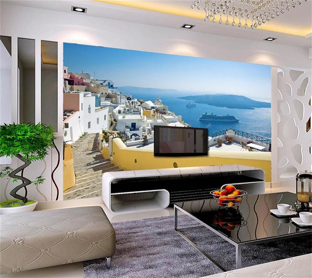 Sofa House Greece Us 15 24 49 Off 3d Wallpaper Custom Photo Hd Mural The Beauty Of The Aegean Sea In Greece Tv Sofa Bedroom Ktv Bar Hotel Living Room In Wallpapers