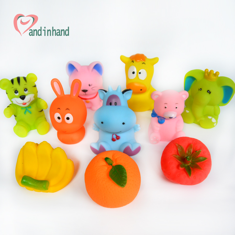Baby Bath Toys Squeeze Sound 10PCS Different Cute Colorful Rubber ...