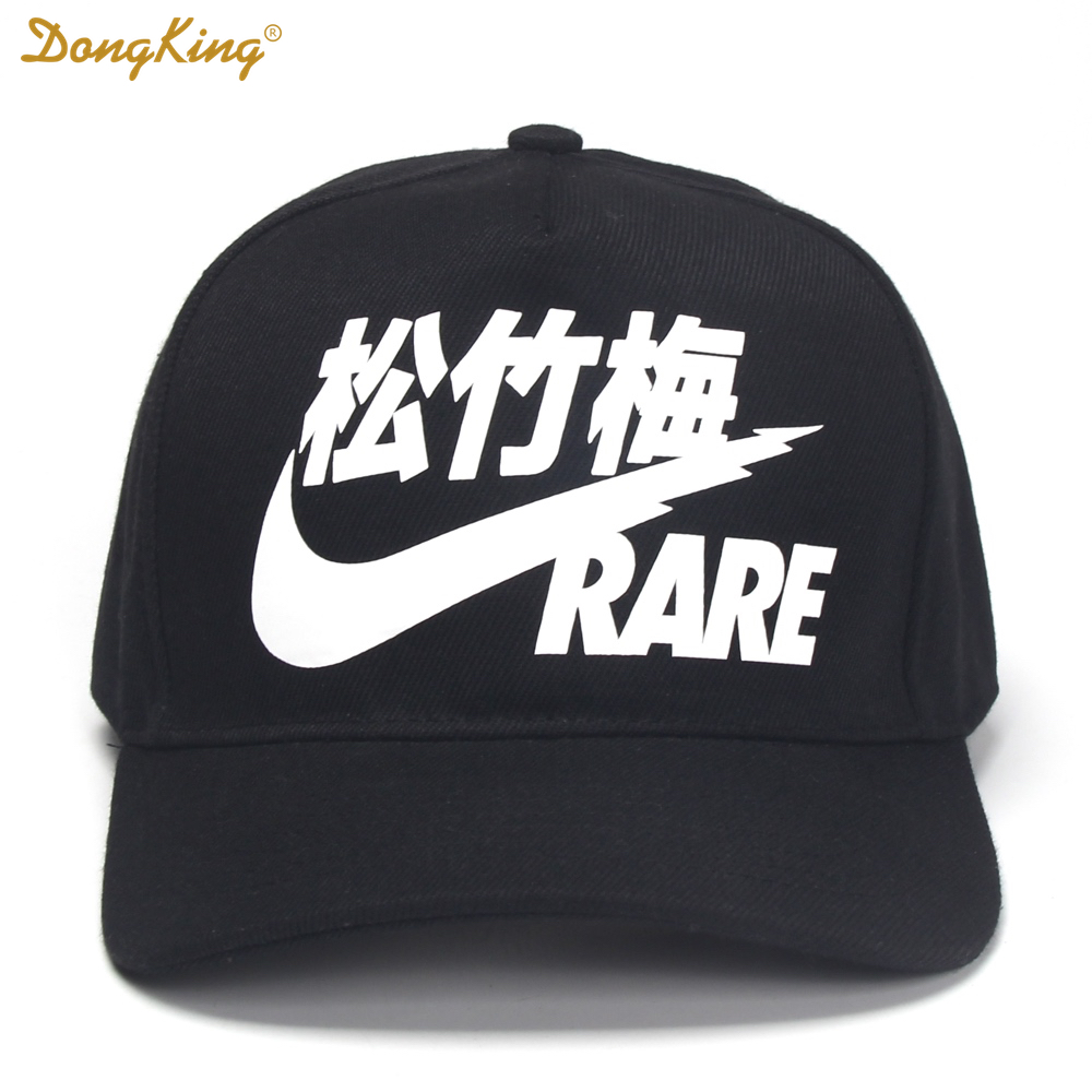 DONGKING RARE CHINESE Letter Print Baseball Cap Washed Soft Cotton Snapback Hats Men Women Black Red Adjustable Gorras nasa insignia embroidered cotton twill cap red