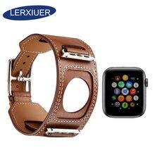 купить Lerxiuer Strap for apple watch band iwatch band 44mm 40mm Genuine leather Cuff Bracelet classic buckle for apple watch 4 38mm 42 по цене 825.86 рублей