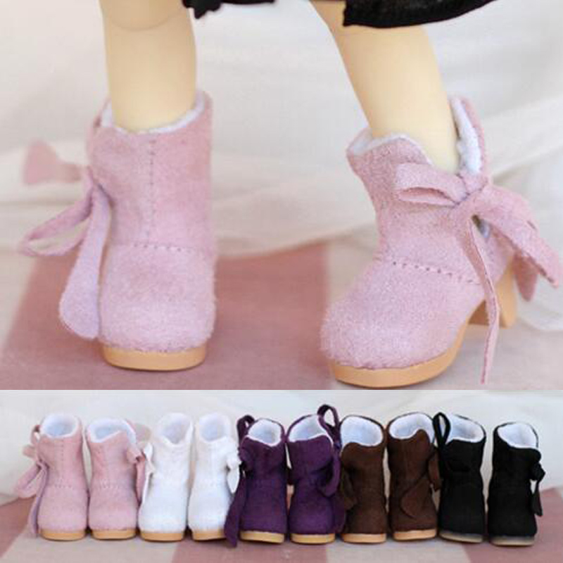 NEW 1/6 BJD YOSD Doll Shoes Pink/purple/brown Bowknot Small cotton boot Shoes