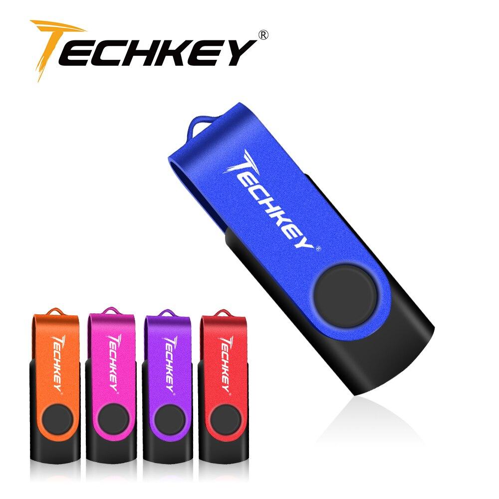 USB Flash Drive 32GB 128GB Pen Drive 64GB TECHKEY Pendrive 8GB Thumb Drive 4GB Micro Cel Memoria Usb Memory Stick Gift U Disk