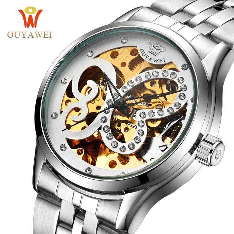 Prix pour Ouyawei marque femmes automatique montre mécanique dame de luxe casual diamant creux squelette robe montres relogio femininos