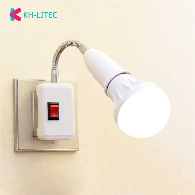 US Plug Lamp E27 Flexible Lamp Holder Extension Adapter Bulb Socket Base For Bedroom Reading Bed Reading Light Baby Lamp