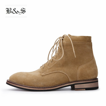Black& Street men British style Genuine Leather Comfort High Martings Boots Lace Up Hairstylist Suede Demin tooling Boots