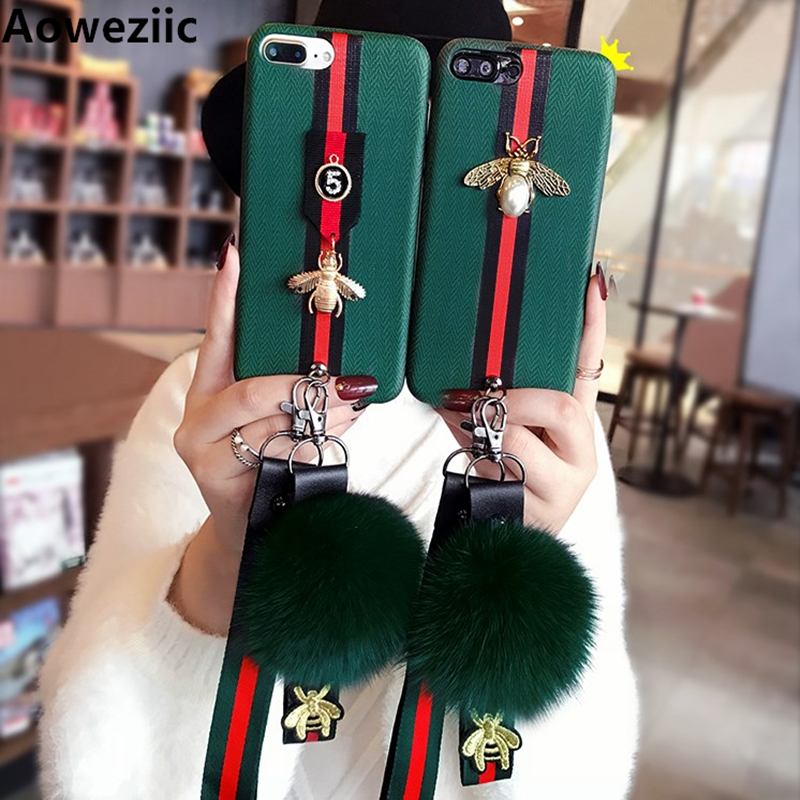 Aoweziic New bee For iphoneX mobile phone shell 7 7plus lanyard wool ball 6S 6Plus silicone soft shell 8 8PLus female trend DIY