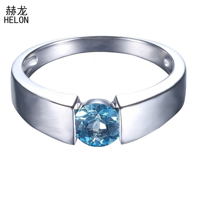 Flawless 1ct Round Genuine Blue Topaz Sterling silver 925 Wedding Ring for Women Solitaire Engagement Fine Jewelry Setting цена