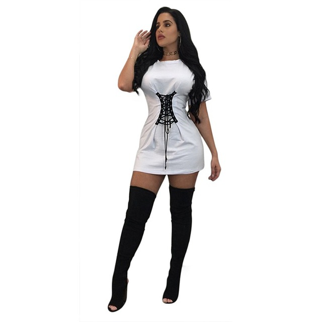 L1092 Sell Summer Women Fashion Short Sleeve Bandage O-Neck Lace Up Corset Belt Dress Pure Slim Sexy Mini Dress