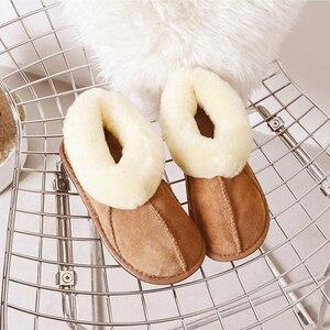 Image 5 - Тапочки из овечьей кожи; Женская меховая домашняя пушистая зимняя плюшевая меховая теплая обувь на плоской подошве; Милая женская обувь; Pantufas; Домашняя женская обувь; c324
