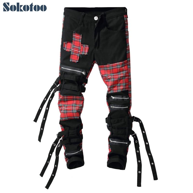 Sokotoo Men's Scotland plaid patchwork cross slim straight jeans Trendy bandage