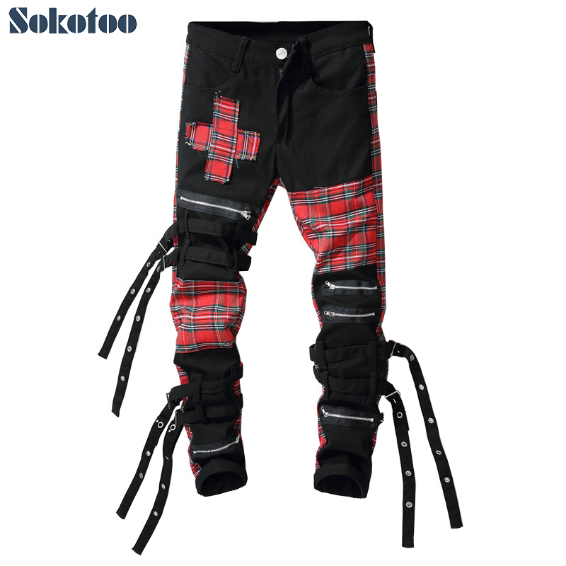 Sokotoo Men's Scotland Plaid Patchwork Cross Slim Straight Jeans Trendy Bandage Denim Pants