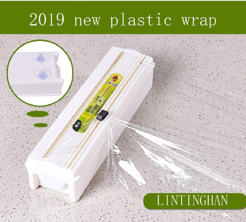Food-Service Plastic Wrapping Cling Film with Reusable Slide Cutter roll Clear PE cling film