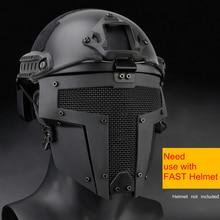 טקטי Airsoft מסכת מגן זכר גברים Airsoft מלחמת משחק מלא פנים משמר Mesh מסכת מגן שימוש עם מהיר קסדת מסכה