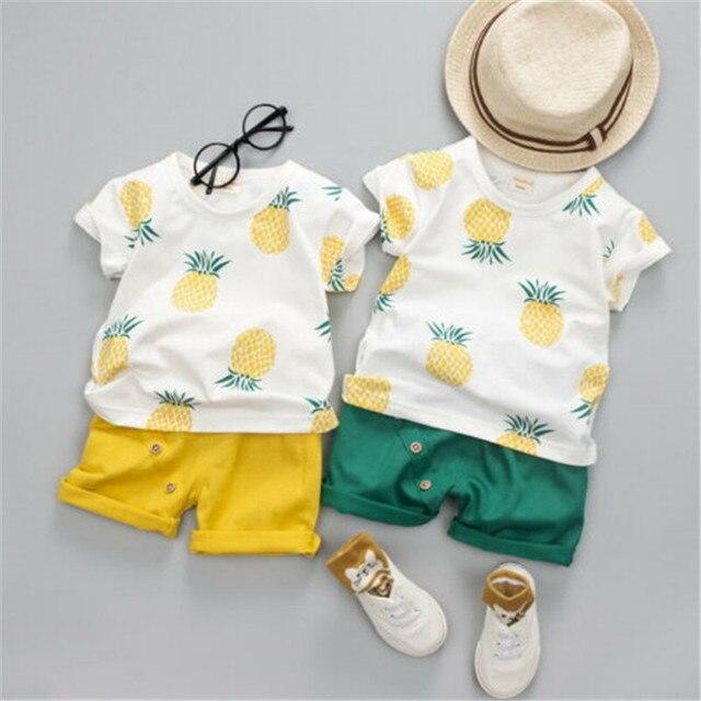 2 PCS פעוט תינוק ילד בגדי סט קיץ קצר שרוול חולצה צמרות מכנסיים קצרים אננס כותנה בני ילדים תלבושות