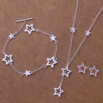 AS163, producto en oferta, joyería de plata de ley, juegos de pulseras 131 + collar 559 + pendiente 446 /agpaixwa ancajaja color plata