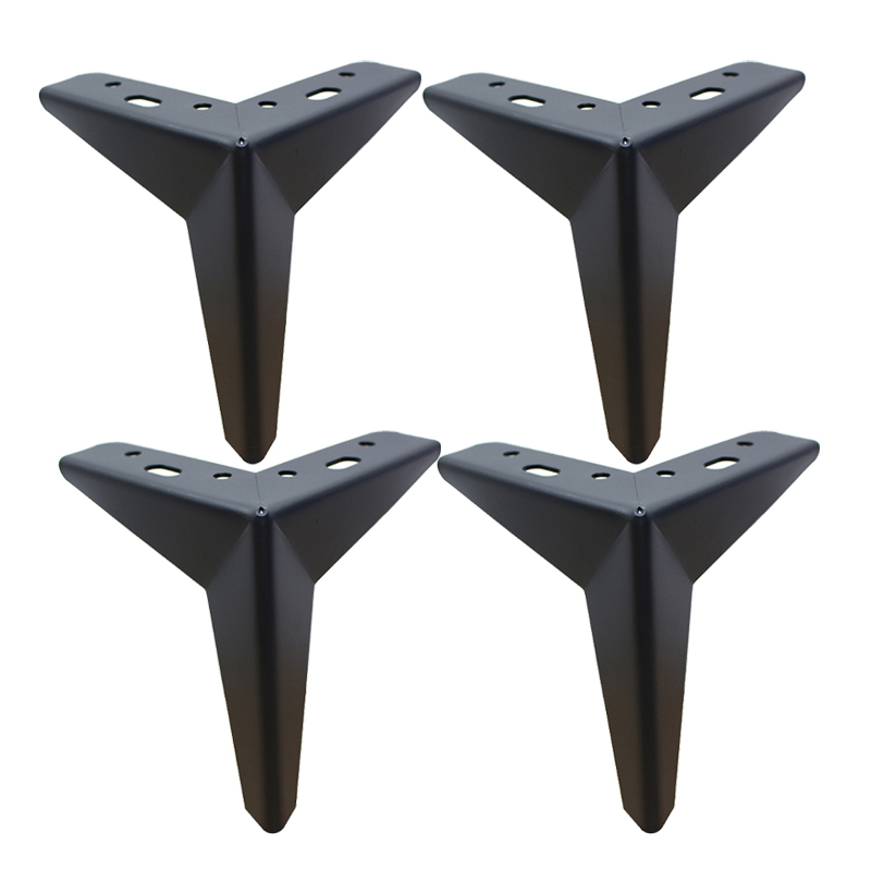 4pcs Metal Furniture Table Legs Parts H=130mm Sofa Chair Leg Trident Shape Black Sofa Leg Thickness 2.5mm With Mounting Screws