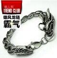 High quality 316L Titanium steel bracelet  Vintage Punk Hiphop Chinese dragon Chain bracelet bangles Man must jewelry not fade