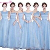 Ciel bleu clair boule chérie ligne pleine figure demoiselle d'honneur formelle tulle floorlength robes long princesse robe pour adultes B3833