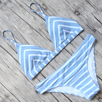 Sexy Push Up Bikinis Women Striped Bikini Set Halter Bandage Swimsuit Female Padded Swimwear Low Waist