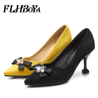 New Women Thin High Heels Pumps Autumn 2018 Yellow Black High Heels Pointed Toe Bowtie woman shoes Pumps for Ladies Plus Size 46